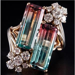 Vintage 1970's 14k Gold Bi-Color Tourmaline & Diamond Cocktail Ring 10.42ctw
