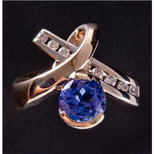 14k Yellow & White Gold Round Cut Tanzanite & Diamond Cocktail Ring 2.64ctw