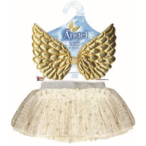 Gold Glitter Angel Wings and Tutu Skirt Child Costume Kit