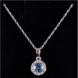 14k White Gold Round Cut Aquamarine & Diamond Halo Pendant W/ 16' Chain .60ctw