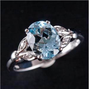 14k White Gold Aquamarine Solitaire Cocktail Ring W/ Diamond Accents 1.54ctw
