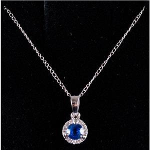 14k White Gold Ceylon Sapphire & Diamond Halo Pendant W/ 16' Chain .43ctw