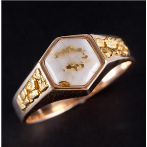 14k Yellow Gold Hexagon Cabochon Cut Gold In Quartz Gold Nugget Ring 6.5g
