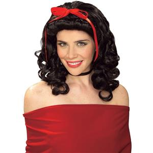 Black Storybook Girl Curly Shoulder Length Wig with Bow