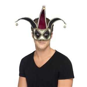 Gothic Venetian Burgundy and Black Harlequin Jester Mask