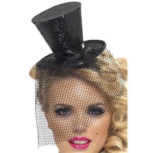 Black Glitter Mini Top Hat on a Headband New Years Eve Burlesque