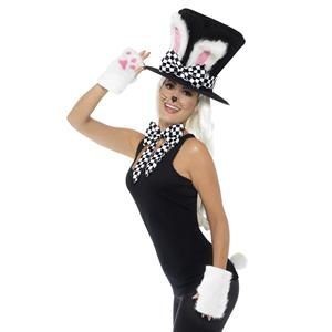 Smiffy Tea Party March Hare Costume Kit Accessory Kit Top Hat Gloves Tie Tail