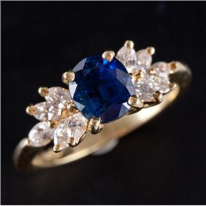 18k Yellow Gold Oval Cut Sapphire Solitaire Engagement Ring W/ Diamonds 2.55ctw