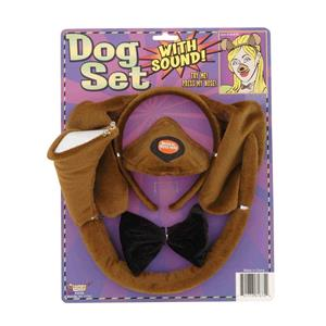 Brown Dog Headband and Nose Ears Bow Tie Set with Sound