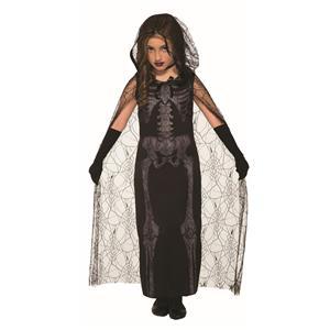Graveyard Spirit Black Skeleton Dress Child Costume Size Large 12-14
