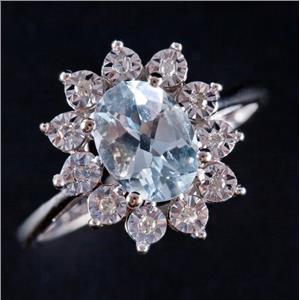14k White Gold Oval Cut Aquamarine & Diamond Halo Style Ring 1.20ctw