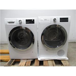 Bosch 800 Series WHT Chrome Washer / Dryer Set WAT28402UC / WTG86402UC