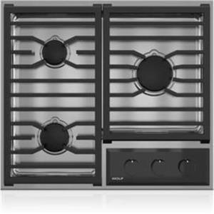 """NIB Wolf 24"""" 3 Dual-Stacked Burners  Transitional Framed Gas Cooktop CG243TFS"""
