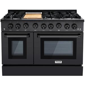 NIB Thor Kitchen 48 Inch BS 6 Burner Professional Double Oven Range HRG4808BS