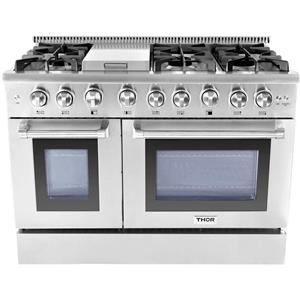"NIB Thor Kitchen 48"" Commercial Convection SS Professional Gas Range HRG4808U"