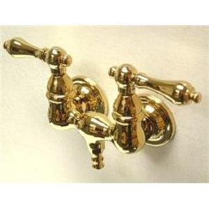 "Kingston Brass CC31T2 Vintage 3-3/8"" Center Wall Mount ClawFoot Tub Faucet - PVD Polished Brass"