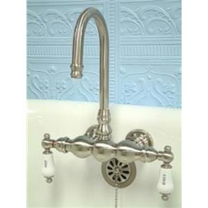 """Kingston Brass CC3T8 Vintage 3 3/8"""" Center Wall Mount Claw Foot Tub Filler Faucet - Satin Nickel"""