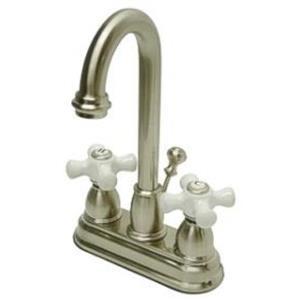 "Kingston Brass KB3618PX Restoration 4"" Centerset Bathroom Sink Faucet - Satin Nickel"