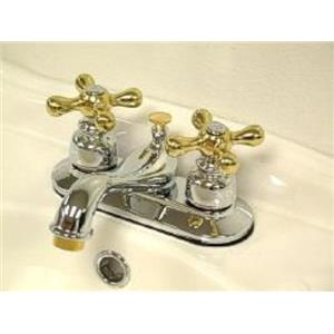 """Kingston Brass KB604X Victorian 4"""" Centerset Bathroom Sink Faucet - Polished Chrome With Brass Trim"""
