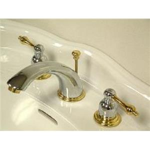 Kingston Brass KB974L Victorian Widespread Bathroom Sink Faucet - Polished Chrome With Brass Trim