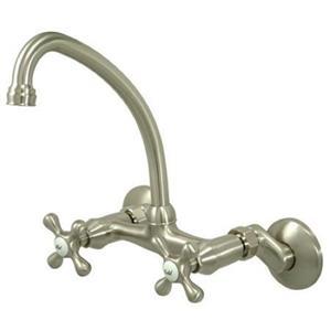 Kingston Brass Satin Nickel Wall Kitchen Faucet KS214SN