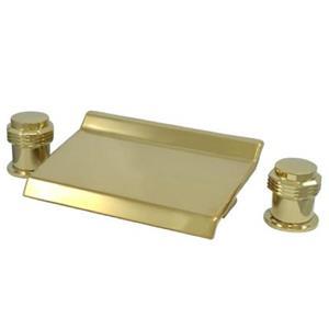 Kingston Brass KS2242MR Milano Round Waterfall Roman Tub Filler, Polished Brass