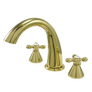 Kingston Brass KS2362AX Naples Roman Tub Filler With Cross Handle - Polished Brass