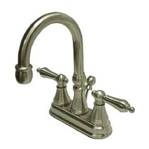 Kingston Brass KS2618AL Governor Classic High Rise Spout Bathroom Sink Faucet - Satin Nickel