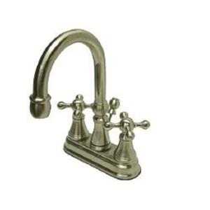 Kingston Brass KS2618KX Governor Classic High Rise Spout Bathroom Sink Faucet - Satin Nickel