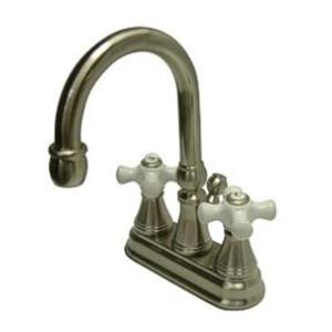 Kingston Brass KS2618PX Governor Classic High Rise Spout Bathroom Sink Faucet - Satin Nickel