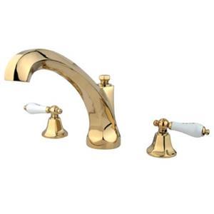 Kingston Brass KS4322PL Metropolitan Roman Tub Filler With Porcelain Lever Handle - Polished Brass