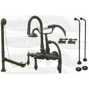Kingston Brass CCK7T5 Oil Rubbed Bronze Clawfoot Tub Faucet Kit With Drain, Supplies & Stops