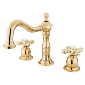"Kingston Brass KS1972AX Heritage 8"" -16"" Widespread Bathroom Sink Faucet - PVD Polished Brass"