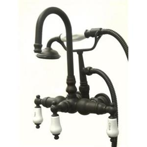 """Kingston Brass CC9T5 3-3/8"""" Center Wall Mount ClawFoot Tub-Shower Mixer Faucet - Oil Rubbed Bronze"""