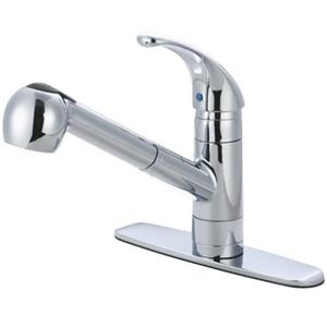 Kingston Brass GS881NCLSP Century Ab1953 Approved Pull Out Kitchen Faucet with Deck Plate, Chrome