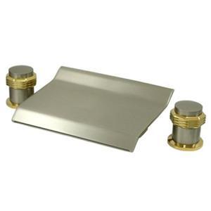 Kingston Brass KS2249MR Waterfall Roman Tub Filler - Satin Nickel With Polished Brass Accents