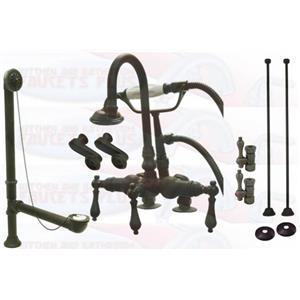 Kingston Brass CCK13T5-ABT1355 Deck Mount ClawFoot Tub-Shower Mixer Faucet Kit - Oil Rubbed Bronze