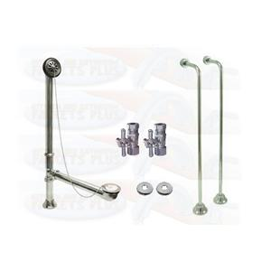Polished Chrome Clawfoot Drain, Supply & Stop Kit - Single Offset