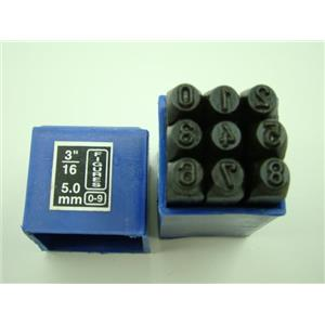 "3/16""  5MM  9 Number Punch Stamp Set  Metal-Steel-Hand-Serial-Trailer-Bars"