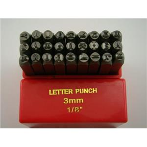 "1/8"" 27 A-Z Letter Punch Stamp Set Hardned 40 CRV Steel 64 HRC Heavy Duty"