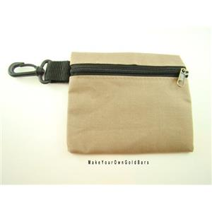 """Tan Zippered Pouch 6"""" X 5"""" Storage-Gun-Cell-Flashlight-Camping-Survival Tactial"""