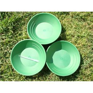 Lot of 3 Green Gold Pans Panning Mining + FREE Snuffer