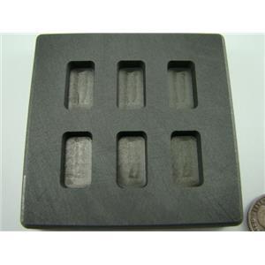 10 Gram x 6 High Density Graphite Gold Bar Mold 6-Cavities - 5 Gram Silver Bars