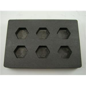 High Density Graphite Hexagon Mold 1oz Gold Bar Loaf 6-Cavities1/2oz Silver