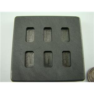 5 Gram x 6 High Density Graphite Gold Bar Mold 6-Cavities - 3 Gram Silver Bars