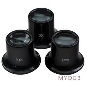 Set of 3 Eye Loupes 10X 5X & 2.5X  Gold Silver Diamonds Jems Ore Rocks B33