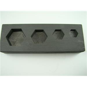 High Density Graphite Hexagon Mold 1-2-5-10 oz Gold Bar Silver 4-Cavity Combo