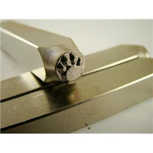 """Paw Print Solid"" 1/4""-6mm-Large Stamp-Metal-Hardened Steel-Gold & Silver Bars"