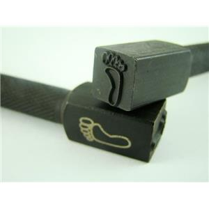 """Hang Ten Left Foot"" 3/8""-10mm-Stamp-Metal-Hardened Steel-Gold&Silver Bars"