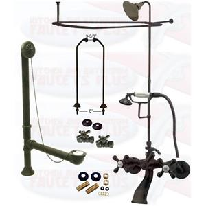 Oil Rubbed Bronze Clawfoot Tub Faucet Package  Faucet, Shower Enclosure W/Head, Drain & Supply Kit